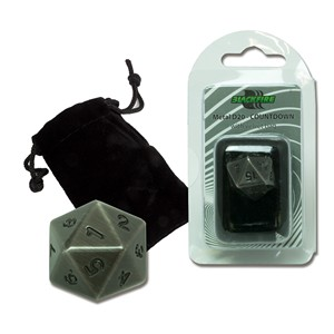 Dado D20 Blackfire Spindown (Plata antiguo)