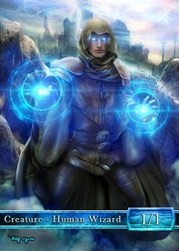 Human Wizard Token (Blue 1/1) (Version 3)