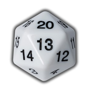 Blackfire Countdown D20 Die (White)