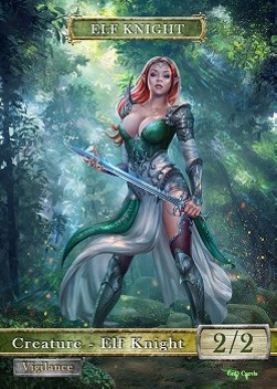 Elf Knight Token (Green and White 2/2) (Version 2)