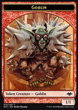Elemental Token (R 3/1 Trample, haste) // Goblin Token (R 1/1)