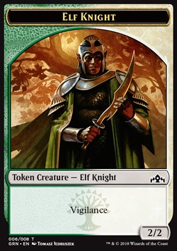 Elf Knight Token (Green and White 2/2)