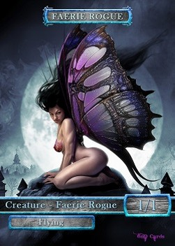 Faerie Rogue Token (Blue and Black 1/1) (Version 1)